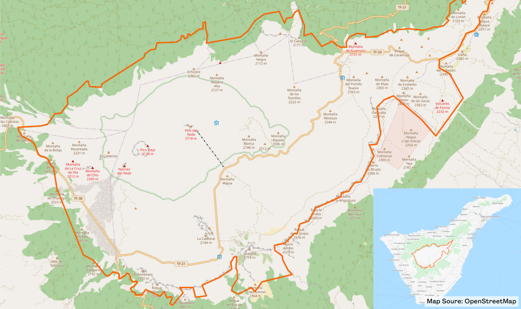 Map of Teide National Park