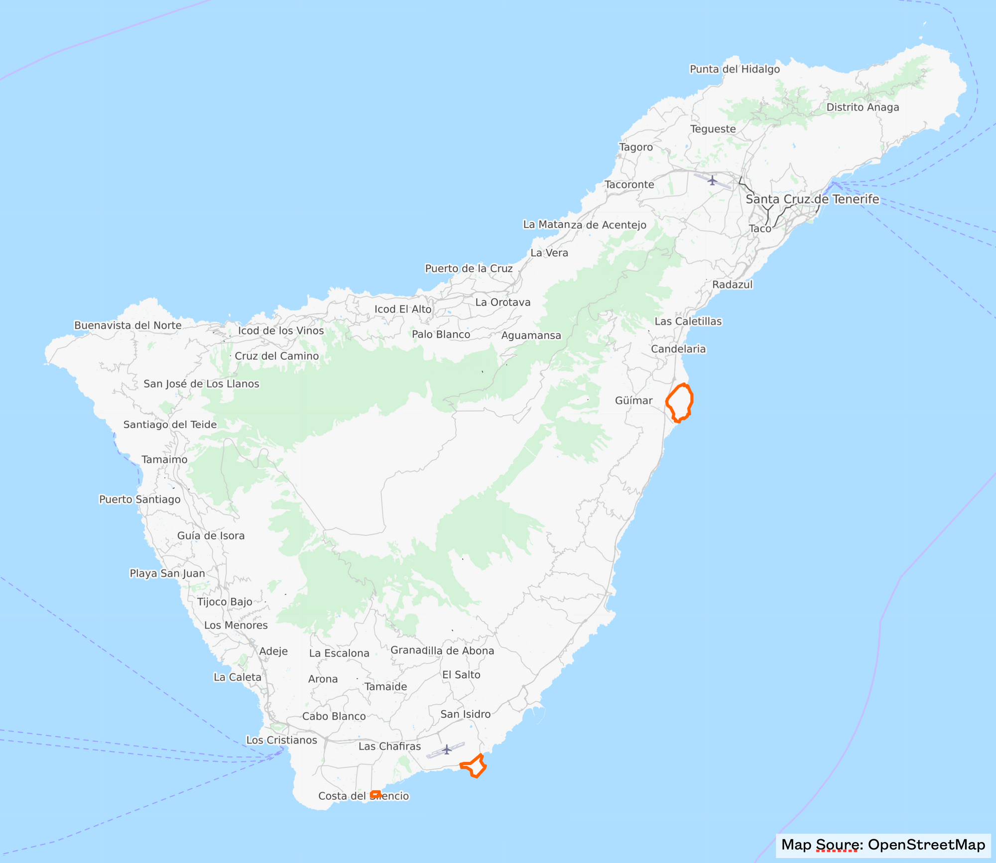 Map of Other Natural Parks for hikes in Tenerife